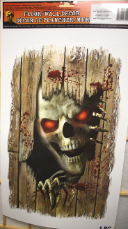 Gothic Horror Post-Apocalyptic Spooky PEEPING SKELETON SKULL w- RED EYES Lurking Beneath WOOD PLANK FLOOR GORE WALL GRABBER Window Door Cling Tattoo Decal Sticker Apocalypse Party Room Creepy Abandoned Haunted House Halloween Prop Building Decoration