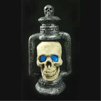 Gothic Post-Apocalyptic Light-Up LED SKULL LANTERN LAMP Halloween Dungeon Cemetery Graveyard Haunted House Prop Apocalypse Costume Party Decoration