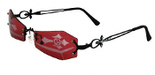Gothic Steampunk Rimless Post-Apocalyptic COFFIN SHAPED EYE GLASSES VAMPIRE SUNGLASSES Cosplay Eyewear Mask Halloween Costume Accessory-BLOOD RED