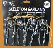 5-ft Gothic BLACK & SILVER SKELETON GARLAND SWAG Haunted House Decoration Halloween Costume Party Decor Prop Accessory
