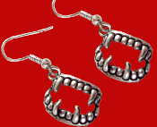 Bite Me Fang Banger True Blood VAMPIRE FANGS FALSE TEETH EARRINGS Gothic Undead Charm Costume Jewelry