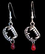 Bite Me Fang Banger True Blood Drop VAMPIRE FANGS FALSE TEETH EARRINGS Gothic Undead Teeth Charm Costume Jewelry. Halloween Dracula Charm Amulet. Fun accessory for True Blood, Vampire Diaries, Twilight party for Team Edward or Jacob fan.