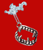 Bite Me Fang Banger True Blood VAMPIRE FANGS FALSE TEETH PENDANT NECKLACE Gothic Undead Teeth Charm Costume Jewelry. Halloween Dracula Charm Amulet. Fun accessory for True Blood, Vampire Diaries, Twilight party for Team Edward or Team Jacob fan