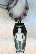 Gothic Vampire SKELETON in BLACK COFFIN PENDANT NECKLACE - Party Favor Vintage Dracula Casket Amulet Vending Toy Jewelry - Really opens