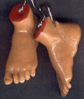 Body Parts FOOT FEET EARRINGS Realistic Serial Killer Jewelry-TAN