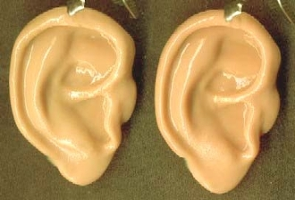 Funky EAR EARRINGS -Realistic Creepy Halloween Hannibal Lector, Saw, Dexter Costume Jewelry, Doctor, Nurse, Med Tech, Teacher, Anatomy Collector! Human Body Part gag gift toy charm. Friends, Romans, Countrymen, lend me your EARS! Can you HEAR me NOW?