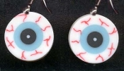 Body Parts EYEBALL EVIL EYE EARRINGS Funky Witch Jewelry-FLAT