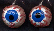 Huge Funky Gross EYEBALL EYE EARRINGS - Realistic Creepy Gross 3-D Punk Weird Halloween Hannibal Lector, Saw, Serial Killer Costume Jewelry - Eye Doctor, Nurse, Medical Technician