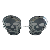 Gothic Steampunk Rimless Post-Apocalyptic Mirror SKULL EYE GLASSES SUNGLASSES Cosplay Eyewear Halloween Pirate Costume Accessory SKULLS GOTHIC GLASSES VAMPIRE SUNGLASSES Skull-Shape Rimless Gunmetal Mask Costume Accessory