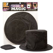 10-inch Toy Magic Appearing Black Top Hat -A cosplay costume party accessory to take anywhere! Collapsible polyester folds up and fits into a small pouch, plus it has a secret pocket to produce your favorite item from the hat. Includes directions