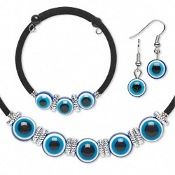 Funky Gypsy Fortune Teller Lucky Charm-EVIL EYE JEWELRY SET-Wiccan Witch Costume Accessories-Necklace-Bracelet-Earrings. BLUE EVIL EYE Costume Jewelry 3-piece SET. Gothic Pagan Halloween Costume Accessory