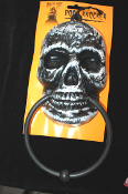 Gothic Theme Prop - SKULL DOOR KNOCKER TOWEL RING CURTAIN VALANCE SWAG SCARF HOLDER - Haunted House Halloween Prop Kitchen Accessory Bathroom Decor Drapery Garland Costume Party Skeleton Decoration Castle Dungeon Wall Decor