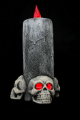 Battery-Operated Light-Up Big Gothic 13-inch tall x 5-inch wide 3-SKULL LIGHTED CANDLE LAMP ONE-Piece Halloween Decoration Lited Halloween Castle Haunt Prop Decor NEW Detailed: LITES UP REALISTIC SCARY, SPOOKY and GROSS...