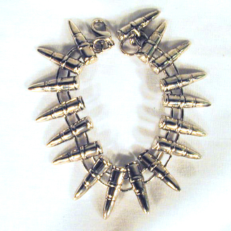 Big Funky Chunky Punk BULLET PEWTER UNISEX BRACELET - Wide Gothic Heavy Metal Rock Novelty Costume Jewelry