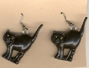 Big 3-d BLACK CAT EARRINGS - Scary Kitty w/ Arched Back Halloween Witch Charm Jewelry