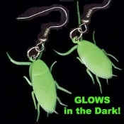 Gross Glow-n-Dark COCKROACH EARRINGS - Halloween Roach - Gothic Insect Charm Bug Jewelry - Realistic, HUGE GiD COCKROACH.