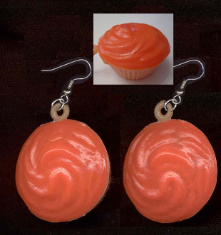 Funky Huge Vintage Orange Frosted CUPCAKE EARRINGS - Retro Junk Fun Food Yummy Dessert Novelty Charm Costume Jewelry - BIG realistic dimensional plastic toy gumball vending machine charms. Great birthday party and Halloween snack favors!