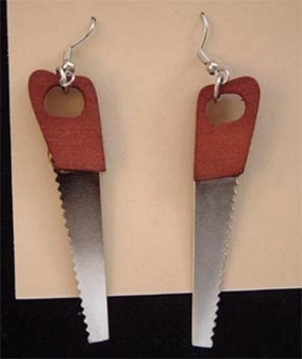 Funky CROSSCUT HAND SAW EARRINGS - Mini Carpenter Woodworking Tool Charm Novelty Weapon Horror Costume Jewelry - Miniature Carpentry Craft Panel Saws Gumball Machine Vending Toy. Realistic Detailed Wood and Metal Charms