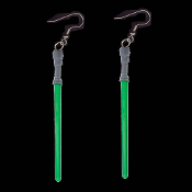 Funky Star Wars JEDI LIGHTSABER EARRINGS - Cosplay Sci-Fi Costume Jewelry -GREEN