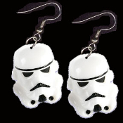 HUGE Funky 3-d Imperial STORM TROOPER EARRINGS - Classic Star Wars Trilogy Sci-Fi Punk Villain - Lord Darth Vader's Stormtrooper Soldier Novelty Charm Costume Jewelry - Come to the Dark Side. MAY THE FORCE BE WITH YOU!