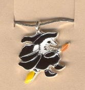WITCH on Broomstick NECKLACE - Halloween Enamel Charm Jewelry