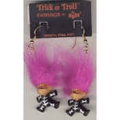 Tiny TRICK-or-TROLL DOLL SKELETON with MASK EARRINGS - Russ Berrie Halloween Costume Jewelry -PURPLE Hair