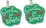 "SOMEWHERE-in-BETWEEN EARRINGS - Big Funky Diva Attitude Princess Charm Jewelry - Big Average American Girl Next Door, jewel-tone transparent plastic charms, approx. 1-1/2"". Are you a Bad girl, a Goody-Two-Shoes, or Somewhere in Between?"