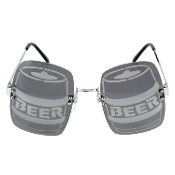Rave Party Pong Drinking Game - KEG KEGGER SUN GLASSES - Funky Novelty Graduation Gag Gift Silly Practical Joke Prank Cosplay Halloween Costume Bar Cocktail Waitress Bartender Funny Punk Lady Gaga-inspired Unisex Gray Smoke BARREL-SHAPE Accessory