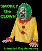 Halloween Special Effects Creepy SMOKEY THE CLOWN ANIMATED FOG Machine Accessory FX Prop - 2-foot tall Gothic Evil SMOKEY THE CLOWN ANIMATED FOG Animatronic Creature Fogger Machine Accessory hooks to fog machine. See YouTube Demo!