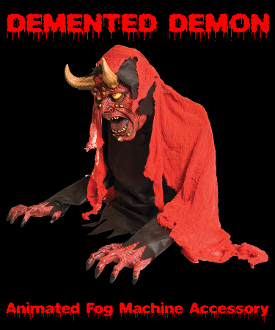Halloween Special Effects Creepy DEMENTED DEMON ANIMATED FOG Machine Accessory FX Prop 2-feet tall Gothic Evil Satanic Satanic RED DEVIL Animatronic Creature Fogger Machine Accessory hooks to fog machine. Head moves back and forth. See YouTube Demo!