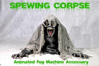 Halloween Special Effects Creepy SPEWING CORPSE ANIMATED FOG Machine Accessory FX Prop 2-feet tall Gothic Evil GRIM REAPER ZOMBIE GHOUL Animatronic Creature Fogger Machine Accessory hooks to fog machine. Head moves back and forth. See YouTube Demo!