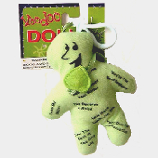 BOSS VOODOO DOLL Clip Keychain Good Bad Luck Novelty Witchcraft Hex Spell Curse Joke Prank Gag Gift Mini Voo-doo Figure, small stuffed cloth effigy is endorsed by a witch doctor and a guy named Fred. Use it to get your Boss to reward good employees