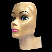 MANNEQUIN HEAD FORM FACE COVER-Costume Mask Prop Display-FEMALE-Flesh-tone Sculpted Face Body Part-Molded plastic, fits over standard styro head form wig stand display. Halloween haunt prop building supplies, safety prop dummy, wig head display
