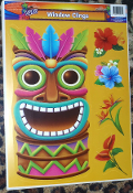 Luau Beach Pool Party Tropical Prop TIKI HEAD MASK Tattoo Mirror Window Cling Decal. ONE Sheet NEW 5-Piece Entire Sheet Size 16.5-inch x 12-inch (41.25cm x 30cm) Plastic Bright Multi-Color Hawaiian Pirate Decor Theme DOOR REFRIGERATOR Decoration