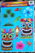 Luau Beach Pool Party Tropical Prop TIKI HEAD MASK Tattoo Mirror Window Cling Decal. ONE Sheet NEW 9-Piece Entire Sheet Size 16.5-inch x 12-inch (41.25cm x 30cm) Plastic Bright Multi-Color Hawaiian Pirate Decor Theme DOOR REFRIGERATOR Decoration