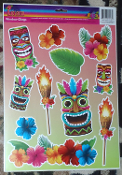 Luau Beach Pool Party Tropical Prop TIKI HEAD MASK Tattoo Mirror Window Cling Decal. ONE Sheet NEW 11-Piece Entire Sheet Size 16.5-inch x 12-inch (41.25cm x 30cm) Plastic Bright Multi-Color Hawaiian Pirate Decor Theme DOOR REFRIGERATOR Decoration