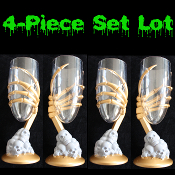 4-pc SET-Medieval Steampunk Cosplay Party ZOMBIE SKELETON GOLD HAND on SKULL PILE GOTHIC GOBLET Flute Cup Drink Glass - CREEPY Gray Base Golden Bony Handed Stem Halloween Costume Accessory Decoration vampire wiccan potion prop decor - 6 ounces!