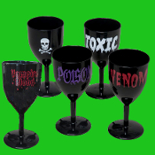 Medieval Steampunk Cosplay - SCARY SKULLS GOTHIC GOBLET - Vampire Chalice Party Cup Witch Drink Glass - Gothic Skeleton Stone-look Ruins Stemmed Halloween Potion Prop Decor Costume Accessory Decoration - Holds 10 ounces of your favorite beverage!