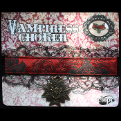 Steampunk Victorian VAMPIRESS CHOKER with Amulet - Cosplay Costume Halloween Twilight Elvira Gothic Vampire Jewelry Accessory - High quality, ornate blood red and pitch black satin brocade, black lace-edged, sexy vixen choker w/ metal Vampire Amulet.