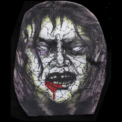 Gothic Walking Dead BLOODY ZOMBIE FACE MASK - Creepy Horror Cosplay Halloween Costume Accessory - Walk Run Full Over-Head - Realistic Monster Horror Movie Decoration – Comfortable super-stretch, see-through fabric. Easy to breathe! No make-up needed!