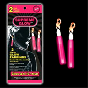 Funky Punk PINK NIGHT GLOW EARRINGS Rave Accessory Halloween Costume Jewelry - 1-pair MAGIC SUPREME GLOW CLIP-ON EARRINGS. Great New Year, Rave, Dance Club, Birthday Party Favors for Adults or Children!