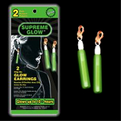 Funky Punk GREEN NIGHT GLOW EARRINGS Rave Accessory Halloween Costume Jewelry - 1-pair MAGIC SUPREME GLOW CLIP-ON EARRINGS. Great New Year, Rave, Dance Club, Birthday Party Favors for Adults or Children!