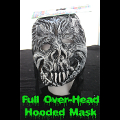 Gothic Horror HOODED ZOMBIE RUBBER MASK - Monster, Demon, Witch, Ghoul, Mummy, Grim Reaper Adult Cosplay Costume Accessory -View-A- Creature Feature Cosplay Halloween Costume Masquerade Accessory - Horror Mask Dummy Prop with Attached Costume Hood