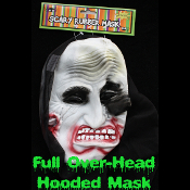 Gothic Horror HOODED ZOMBIE RUBBER MASK - Monster, Demon, Witch, Ghoul, Mummy, Grim Reaper Adult Cosplay Costume Accessory -View-B- Creature Feature Cosplay Halloween Costume Masquerade Accessory - Horror Mask Dummy Prop with Attached Costume Hood