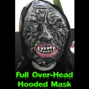 Gothic Horror HOODED ZOMBIE RUBBER MASK - Monster, Demon, Witch, Ghoul, Mummy, Grim Reaper Adult Cosplay Costume Accessory -View-C- Creature Feature Cosplay Halloween Costume Masquerade Accessory - Horror Mask Dummy Prop with Attached Costume Hood