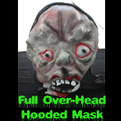 Gothic Horror HOODED ZOMBIE RUBBER MASK - Monster, Demon, Witch, Ghoul, Mummy, Grim Reaper Adult Cosplay Costume Accessory -View-D- Creature Feature Cosplay Halloween Costume Masquerade Accessory - Horror Mask Dummy Prop with Attached Costume Hood
