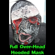 Gothic Horror HOODED ZOMBIE RUBBER MASK - Monster, Demon, Witch, Ghoul, Mummy, Grim Reaper Adult Cosplay Costume Accessory -View-E- Creature Feature Cosplay Halloween Costume Masquerade Accessory - Horror Mask Dummy Prop with Attached Costume Hood