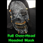 Gothic Horror HOODED ZOMBIE RUBBER MASK - Monster, Demon, Witch, Ghoul, Mummy, Grim Reaper Adult Cosplay Costume Accessory -View-F- Creature Feature Cosplay Halloween Costume Masquerade Accessory - Horror Mask Dummy Prop with Attached Costume Hood