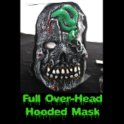 Gothic Horror HOODED ZOMBIE RUBBER MASK - Monster, Demon, Witch, Ghoul, Mummy, Grim Reaper Adult Cosplay Costume Accessory -View-G- Creature Feature Cosplay Halloween Costume Masquerade Accessory - Horror Mask Dummy Prop with Attached Costume Hood