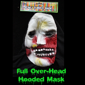 Gothic Horror HOODED ZOMBIE RUBBER MASK - Monster, Demon, Witch, Ghoul, Mummy, Grim Reaper Adult Cosplay Costume Accessory -View-H- Creature Feature Cosplay Halloween Costume Masquerade Accessory - Horror Mask Dummy Prop with Attached Costume Hood